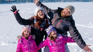 Twins Capri & Isabel Go To Frozen Ice Carnival!! Walking on a Frozen Lake! | Twin Family Fun Vlog