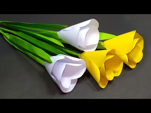 How to Make Paper Tulip Flower!! Easy Making DIY Tulip Flower At Home | Jarine's Crafty Creation
