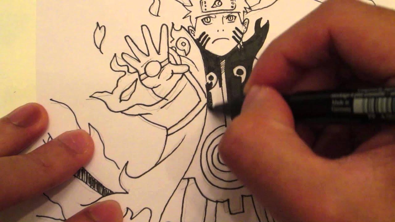 How to draw naruto bijuu mode