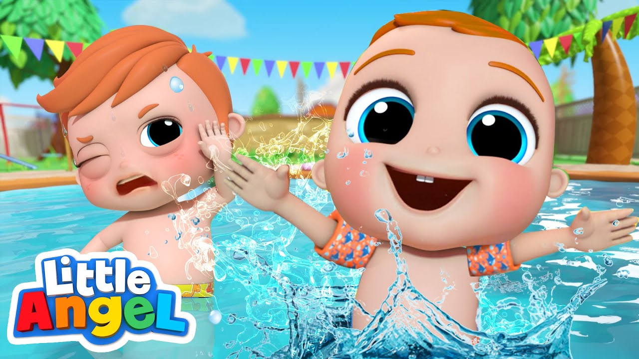 Play Safe At The Pool | Swimming Song | Little Angel Kids Songs & Nursery Rhymes