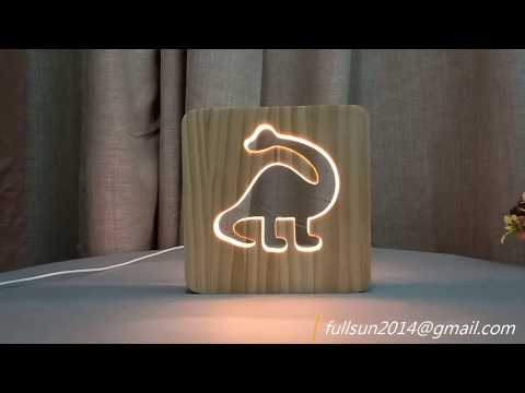 warm white Color Dinosaur Lamp 3D Visual Led wooden Night Lights