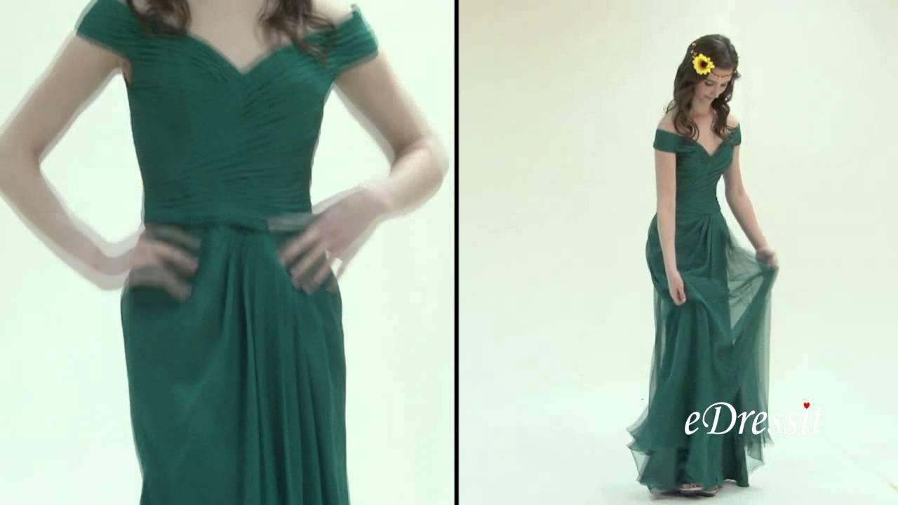 Off Shoulder Dark Green Evening Gown Bridesmaid Dress - YouTube