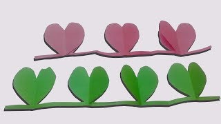 How to make a Paper Heart chain : Valentine