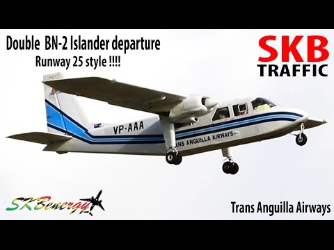 Double BN-2 Islander runway 25 departure @ St. Kitts Airport
