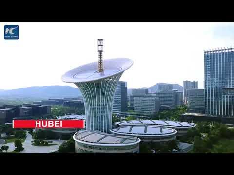 Aerial view of Yangtze River, cities alongside