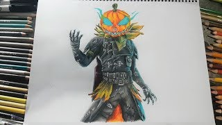 How to draw Hollowhead ? How to draw HALLOWHEAD New Fortnite Filtered Skin ? MaxiDraws