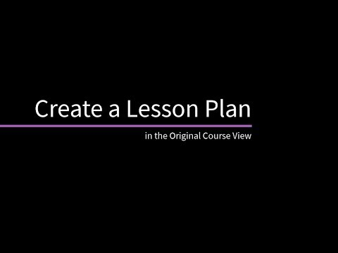 Create A Lesson Plan In The Original Course View