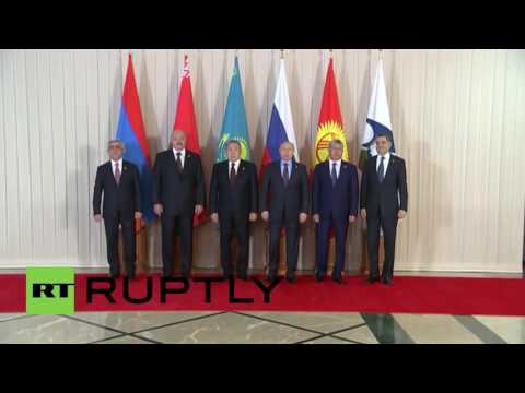 Kazakhstan: Putin joined by EEU leaders for 'family photo' ahead of meeting
