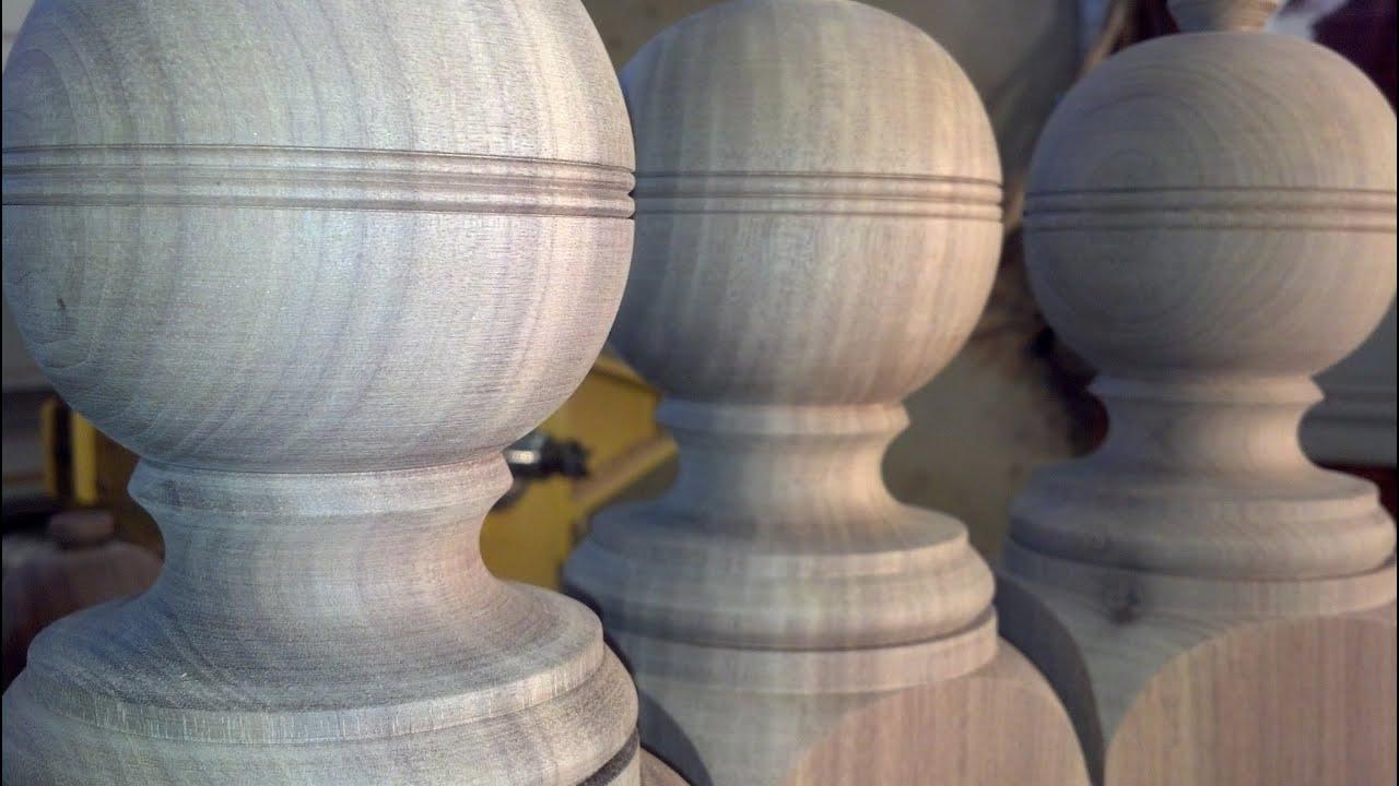 Woodturning Walnut Ball Top Newel Post
