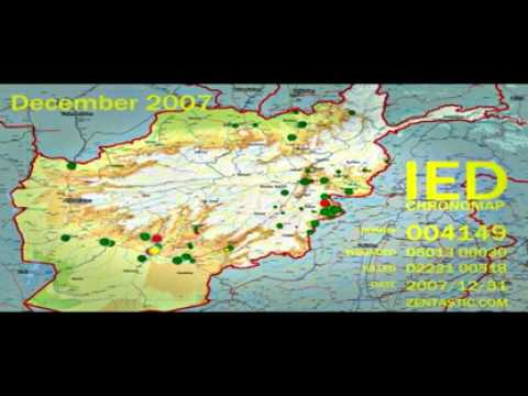 Afghanimation Afghan War Diary Wikileaks Map YouTube - Us invasion of afghanistan everyday map