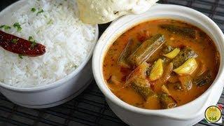 Okra In Tamarind Gravy - Bendakaya Pulusu  - By Vahchef @ Vahrehvah.com