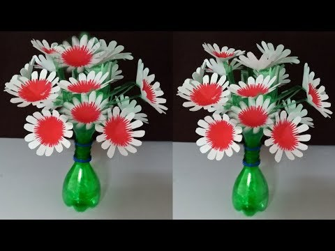 plastic bottle flower vase easy / plastic bottle flower vase / plastic bottle craft ideas flower