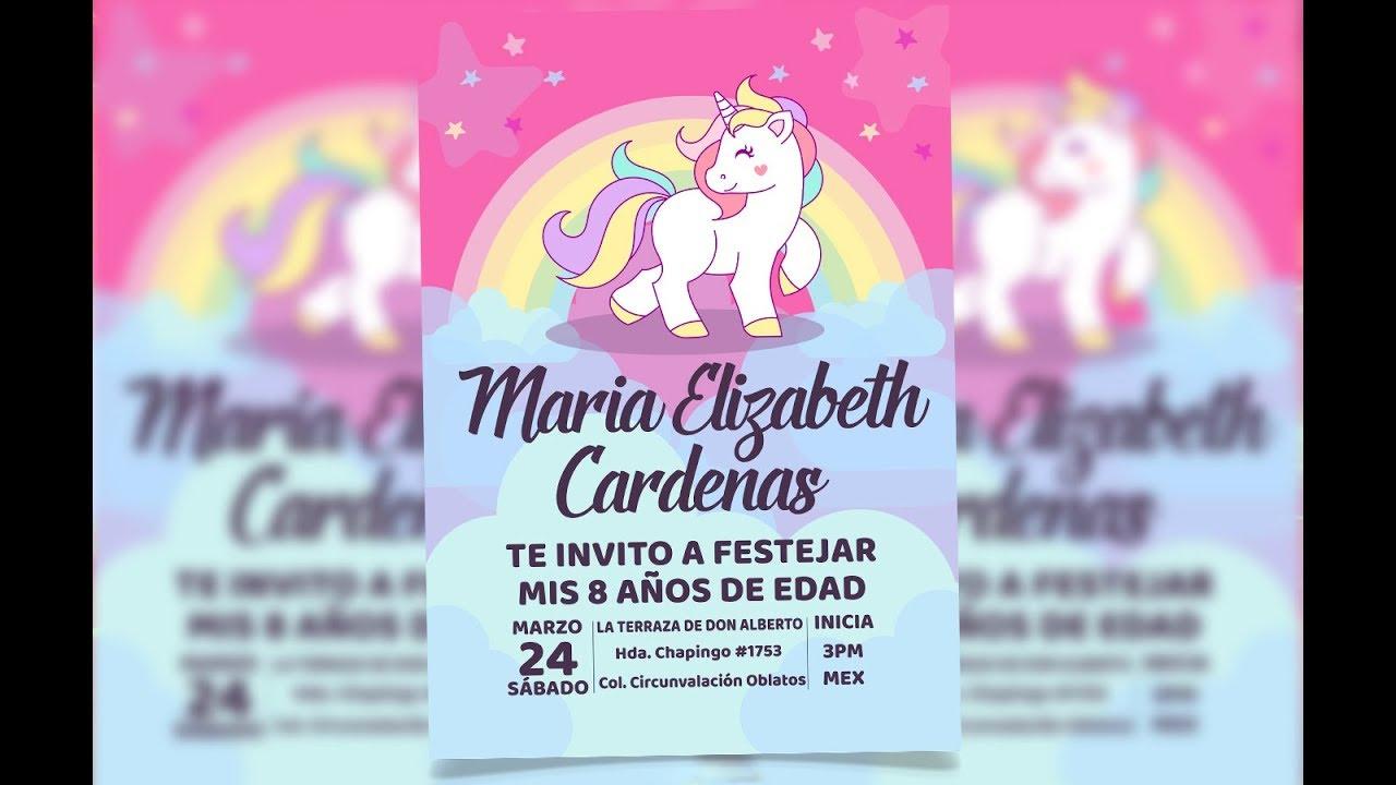 invitacion para cumplea u00d1os unicornio