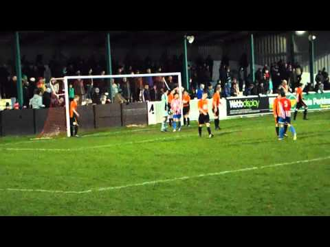 Leicester Road's Highland somehow saves from Bromsgrove's Brain at his near post