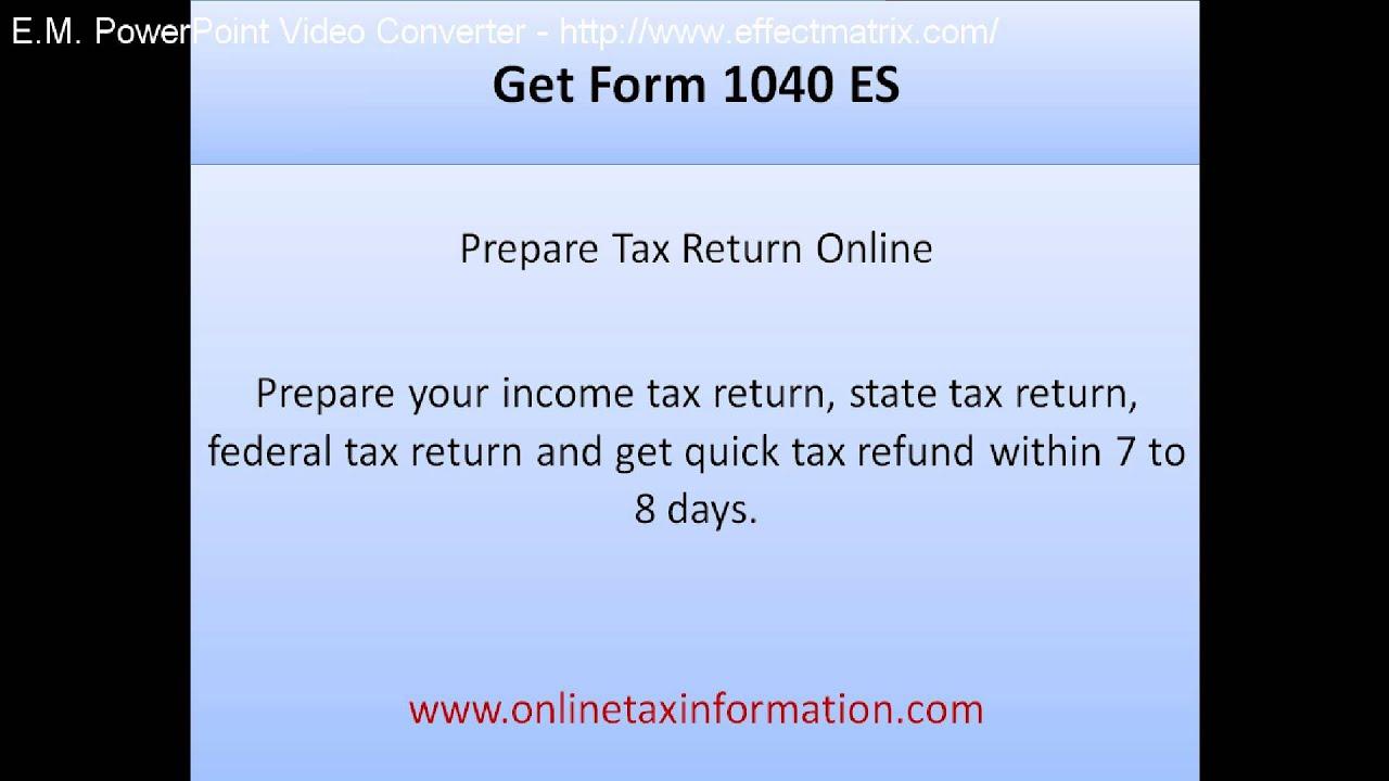 Get Form 1040 ES - YouTube
