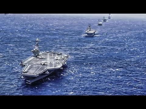 Aerial View Of Huge Warship Formation In The Pacific 2016