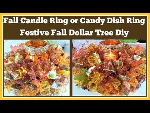 Fall Candle Ring 🍁 Candy Dish Ring Dollar Tree Diy