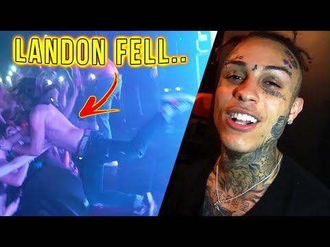 Lil Skies Shouts Out Lil Pump & LANDON CUBE FALLS ON STAGE!