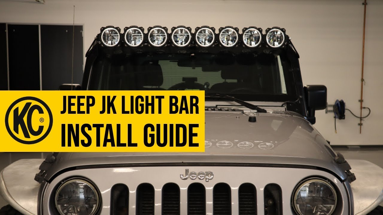 jeep wrangler kc pro6 light bar install guide [ 1280 x 720 Pixel ]