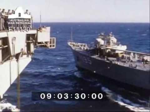 HMAS Supply refuells USN aircraft carrier USS America