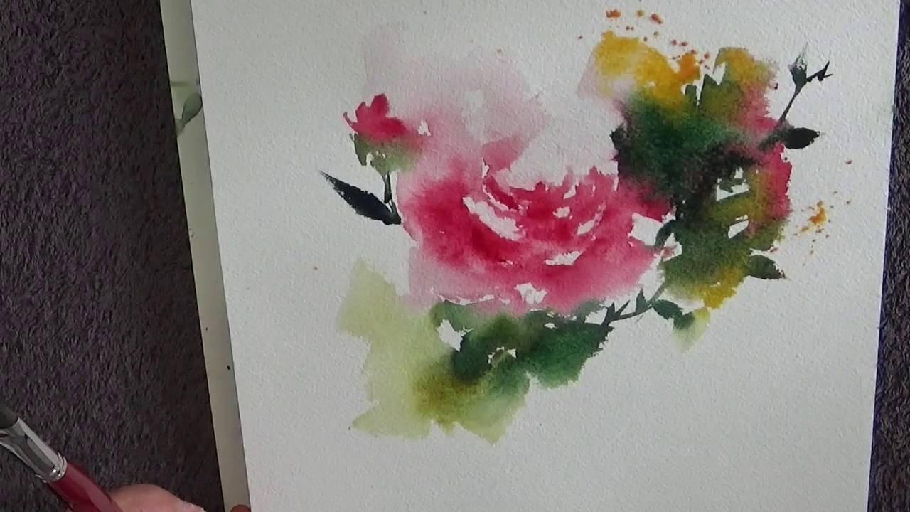 Catherine Rey Demo Aquarelle Rose Youtube