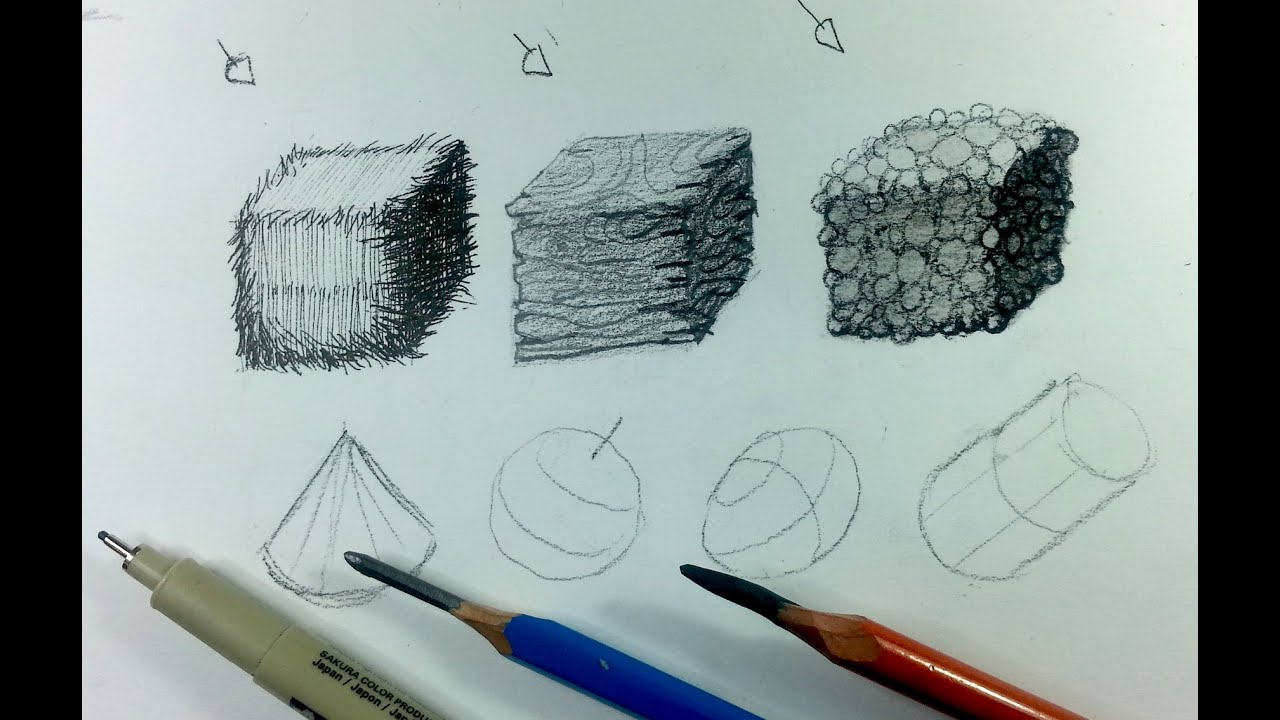 How To Create Textures Pen Vs Pencil Vs Charcoal Youtube