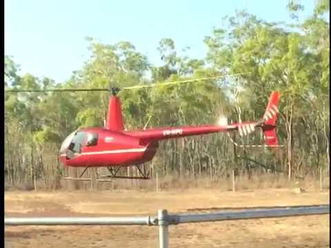 Tourist Helicopter VH RPQ Lifts Off From Charles Darwin National Park NT Australia