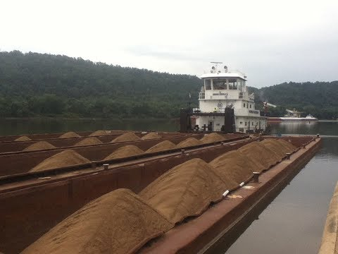 Up Close: Ohio River Barge Boat LOADED To MAX Murray American