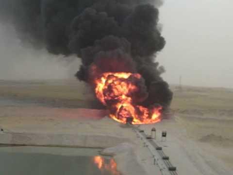 Flairing Oil Rig in Saudi Arabia