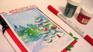 Watercolor Winter Trees Stamped Card with Texture Paste Snow