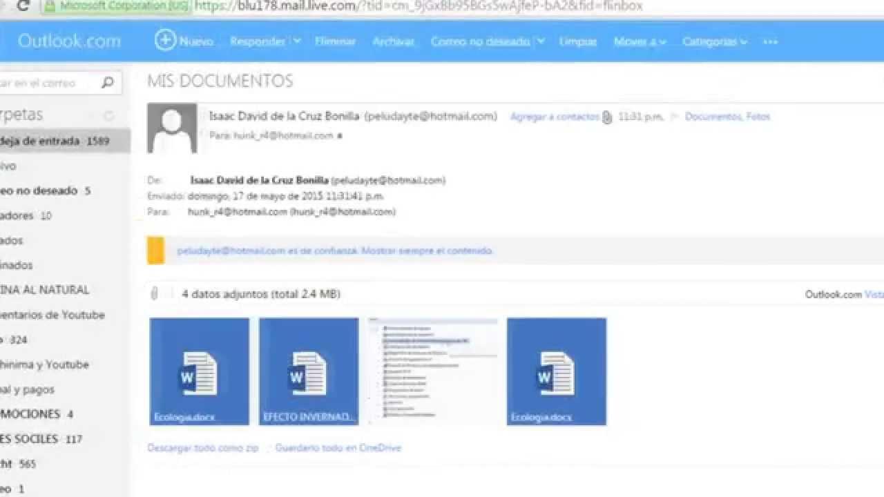 Como Enviar Un Archivo De Word, Rar, PDF Por Outlook 2015