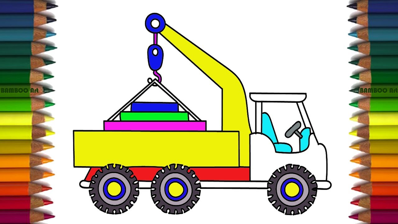 how to draw crane truck rainbow learning colors coloring pages