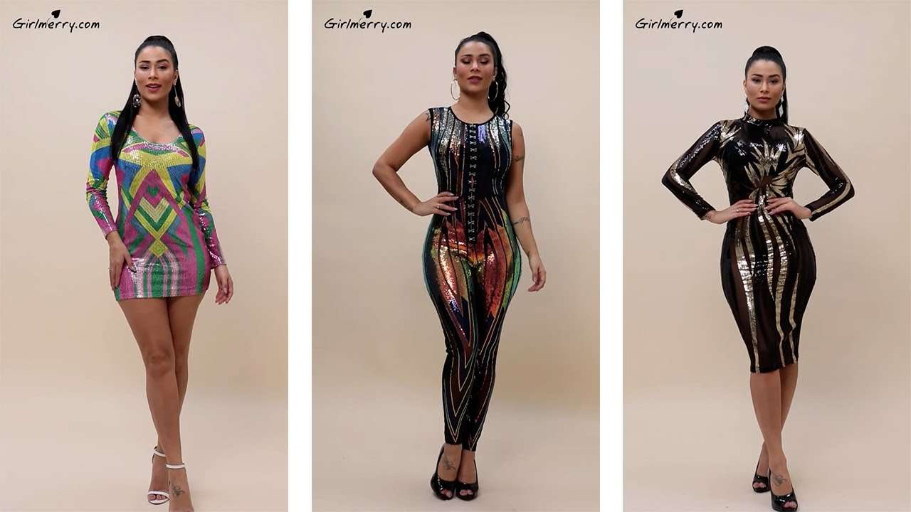 Download Girlmerry - Ray Carvalho   Stylish tight stretch sequins geometrical pattern dress