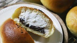 [손반죽/dough by hand] 부드럽고 달달한 생크림단팥빵 만들기 Sweet Red bean bread 生クリームあんパン  -suna