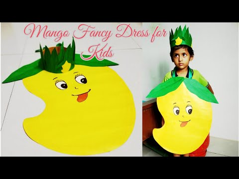 How to Make Mango Dress for Kids/Fruit Fancy Dress Competition/Paper Fruit Costume for Fancy Dress