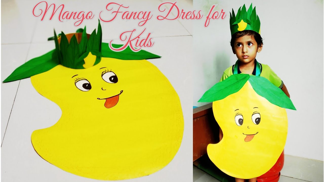 How To Make Mango Dress For Kids Fruit Fancy Dress Competition Paper Fruit Costume For Fancy Dress