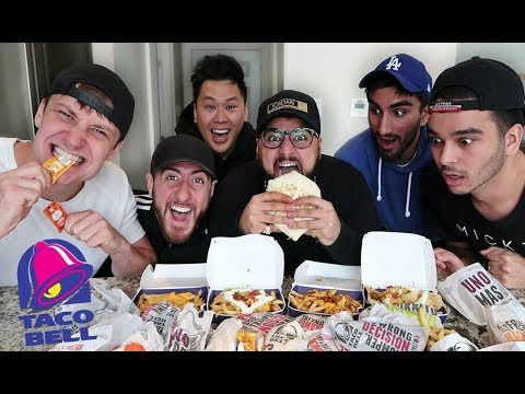 ENTIRE TACO BELL MENU IN 10 MIN CHALLENGE!!