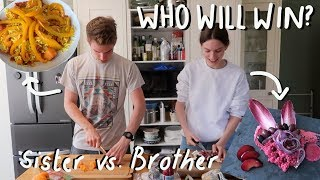 Cooking A Meal Using ONE COLOUR VS. MY BROTHER