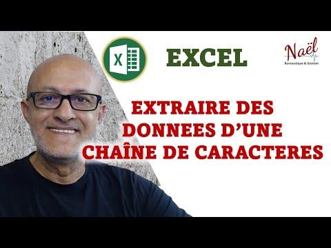 Excel, Extraire caractères dans une chaîne, NBCAR, DROITE, GAUCHE, TROUVE remplissage instantané