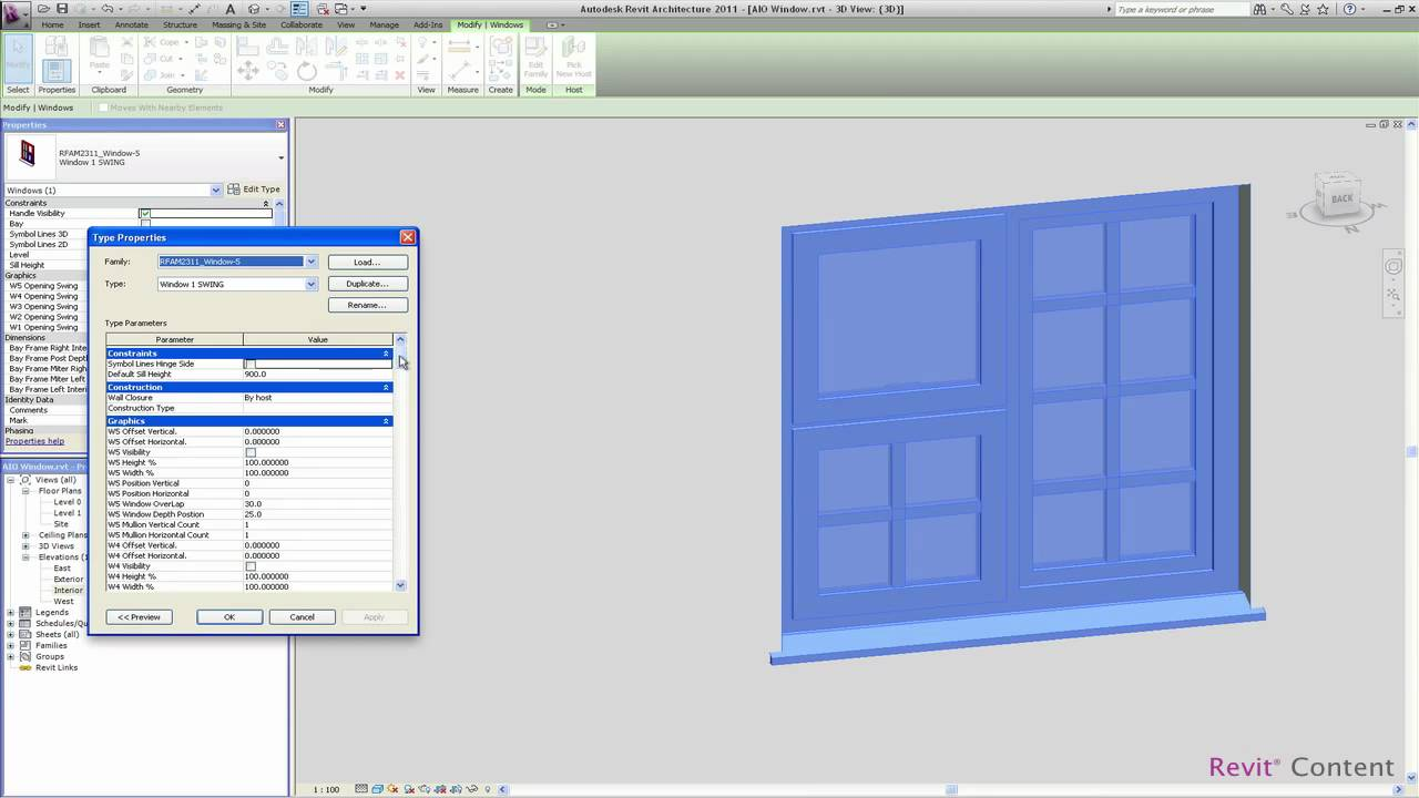 Revit tutorials: window family creating a material parameter.