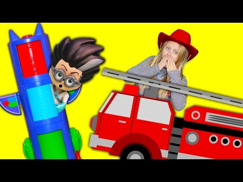 PJ Masks and Paw Patrol  and the Assistant at the Fire Station and saves Romeo