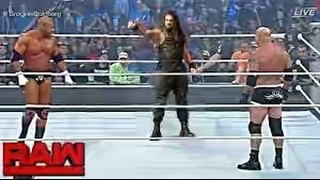 WWE RAW Goldberg vs Triple H vs Roman Reigns