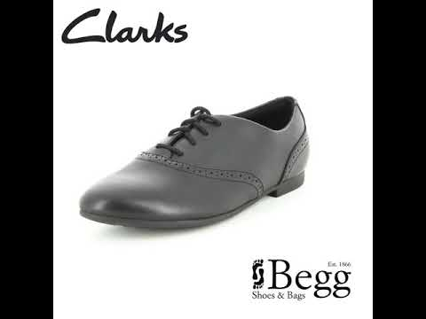 Clarks Jules Walk F Fit Black leather school shoes a9651be5a5