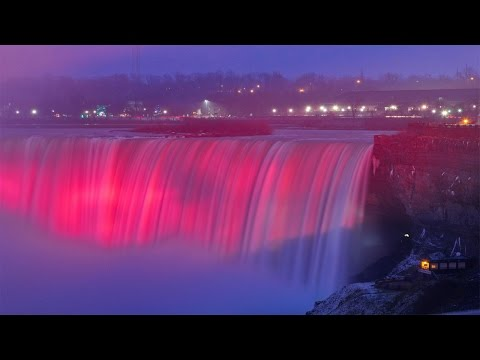 Niagara Falls Frozen At Night Winter 2015