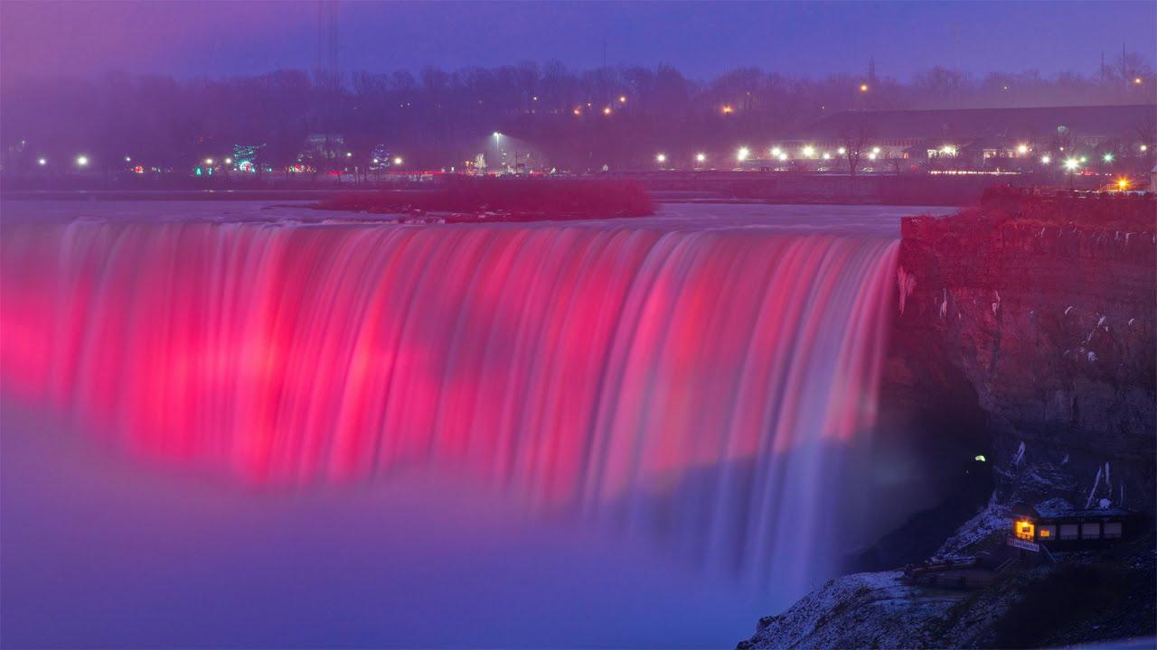 Fall Disney Wallpaper Niagara Falls Frozen At Night Winter 2015 Youtube