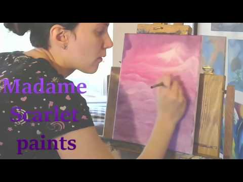 Madame Scarlet Paints a Landscape [timelapse abstract oil painting]