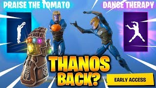 FORTNITE THANOS DANCE THERAPY & PRAISE THE TOMATO EMOTE (custom skin)