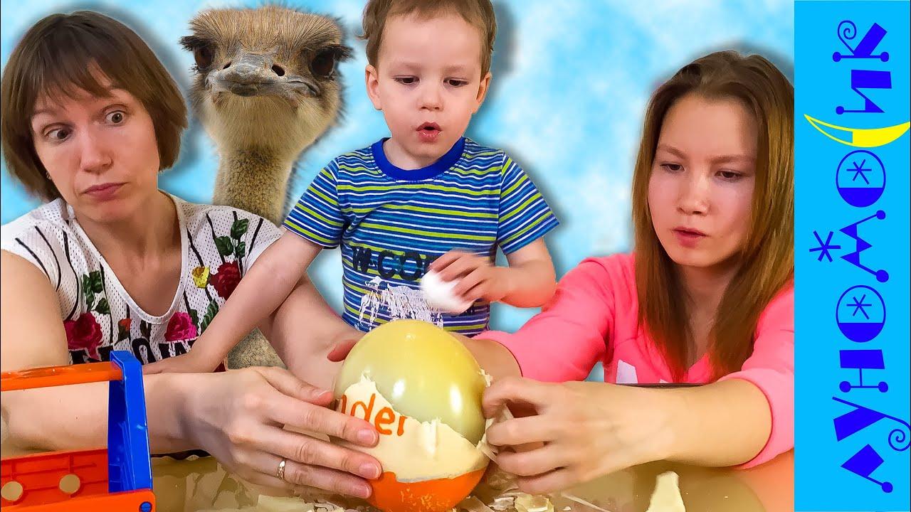 Страусиное яйцо КИНДЕР - что внутри?