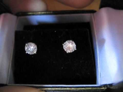 white earring gold halo ct square ear real cut stud full diamond carat cluster