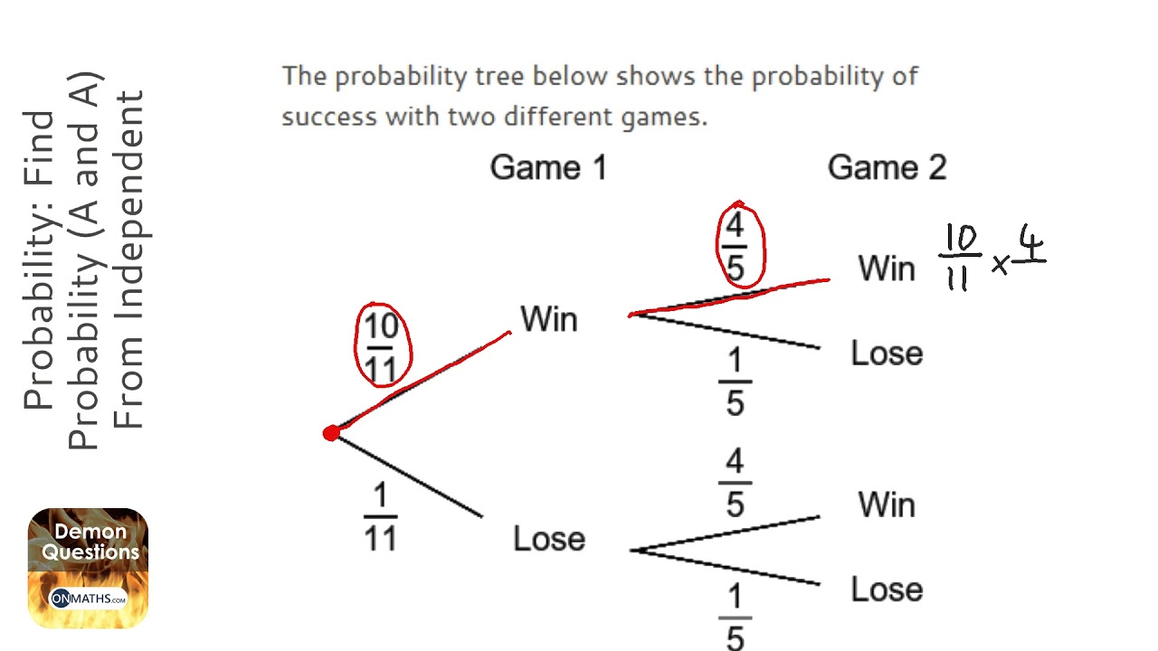 probability find probability a and a from independent tree diagram grade 5 gcse revision. Black Bedroom Furniture Sets. Home Design Ideas
